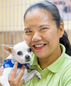 A shelter employee holds an adoptable dog